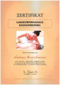 Zertifikat Ganzkörper Massage